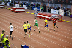 Missed start. The missed start ( person on the 4th place ) of 60m man race, picture from National juniors 1 races from 25 January in Bucharest Stock Photos