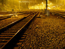 Missed Train. Rails at night Stock Images