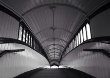 Missed the train. Abstract style black and white view railway station tunnel, architecture Royalty Free Stock Photography