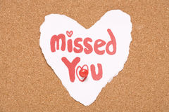 Missed you love note Stock Photos