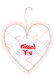 Missed you message on a heart note board Stock Images