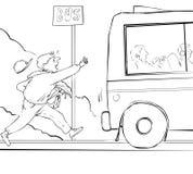 Misser de bus stock illustratie