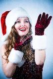 Misser Santa die de sneeuw bekijkt Stock Foto