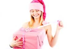 Misser Santa met gift Stock Afbeelding