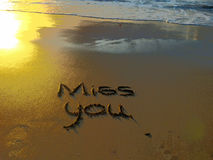 Misser You Written in Zand Royalty-vrije Stock Foto