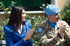 Missi Lebanon in 2013 with the UNIFIL soldiers. MIss Lebanon in 2013 with the Italian contingent of UNIFIL soldiers Stock Photo