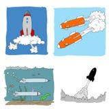 Missil, rymdskepp och torpille Arkivbild