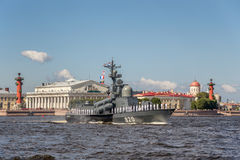 Missile boat Chuvashia on rehearsal of the naval parade on the day of the Russian Fleet in St. Petersburg Royalty Free Stock Image