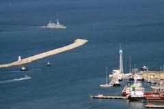 Missile boat Israeli Navy enters the Haifa port Stock Photos