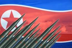 Missile coréen du nord du déjeuner ICBM pour l'essai de bombe nucléaire illustration stock