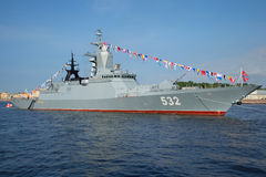 Missile corvette Boykiy closeup of a sunny day in July in the waters of the Neva. Navy day in St. Petersburg Royalty Free Stock Photography
