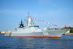 Missile Corvette Boykiy in the Neva river before Navy day celebrations. Saint Petersburg Royalty Free Stock Image