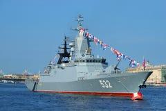 Missile Corvette Boykiy in the Neva river. Navy day in St. Petersburg Royalty Free Stock Image
