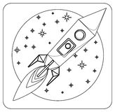 Missile in flight colorless, coloring, vector Stock Photography
