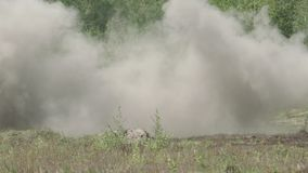 Missile Hits The Target. RPG SlowMotion, Aerial View stock video