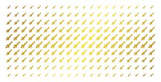 Missile Launch Gold Halftone Grid. Missile launch icon gold colored halftone pattern. Vector missile launch shapes are arranged into halftone array with inclined Stock Photos