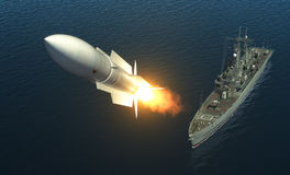 Missile Launch From A Warship On The High Seas Stock Photography
