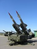 Missile launcher. Outdoors with clear blue sky Stock Photo