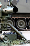 Missile Launcher. Tow Missile launcher gear with an armored car continous tracks behind Stock Photos
