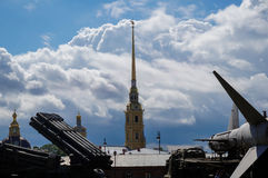Missile launcher and church spire on the background Stock Image