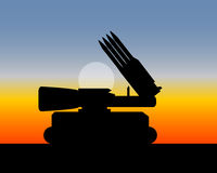 Missile launcher with four missiles Stock Image