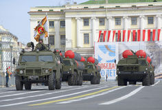 Missile launchers S-300PM on the Palace square. Rehearsal of parade in honor of Victory Day, St. Petersburg Royalty Free Stock Photos