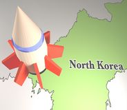 Missile with map of North Korea royalty free stock photography