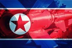 Missile nordcoreano di ICBM Bomba nucleare, test nucleare Immagini Stock