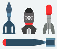 Missile rocket set icon vector illustration cartoon isolated bomb flat style background threat Royalty Free Stock Photography