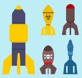 Missile rocket set icon vector illustration cartoon isolated bomb flat style background threat Royalty Free Stock Photo
