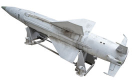 Missile. Russian anti - aircraft missile on a white background royalty free stock images