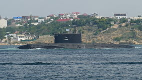 Missile submarine out to sea stock video footage
