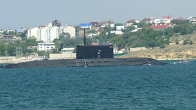 Missile submarine returned to the base stock footage