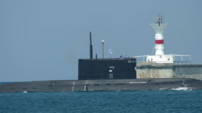 Missile submarine returned to a military base stock footage