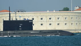 Missile submarine returned to a military base stock video