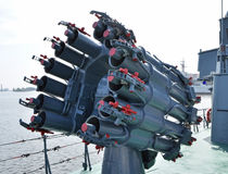 Missile System. A surface-to-air missile battery mounted on a destroyer Royalty Free Stock Photo