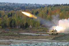 Missile system. Volley heavy surface-to-surface missile system with thermobaric weapons Royalty Free Stock Images
