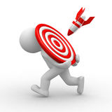 Missile on target. Missile hit a human that carry a target Royalty Free Stock Images