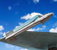 Missile under the wing attack aircraft against the sky Royalty Free Stock Photography