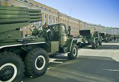 Missile vehicles lined. ST PETERSBURG, RUSSIA-MAY 8, 2008: Missile vehicles lined for a rehearsal before the celebration of World War II Victory Day on May 9 royalty free stock photography