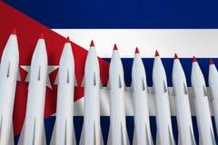 Missiler i rad och flagga av Kuban vektor illustrationer