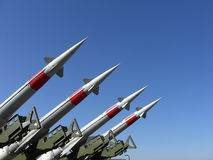 Missiles. Four missiles against clear blue sky Royalty Free Stock Photo