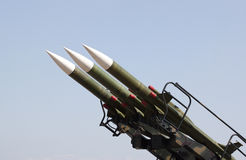 Missiles. Antiaircraft missiles on a blue sky Royalty Free Stock Photography