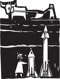 Missiles beneath. Woodcut style image of missiles being set up beneath a farm field Royalty Free Stock Image