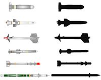 Missiles collection. Variety of missiles in 2 styles over white Royalty Free Stock Photos
