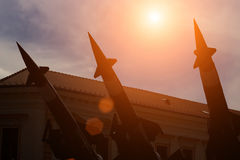 Missiles for defense against attacks from the air. Launching ramp with military missile systems to defend against attacks from the air.Medium-range Rocket system stock images