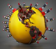 Missiles nucléaires se tenant sur la carte du monde illustration 3D Image stock