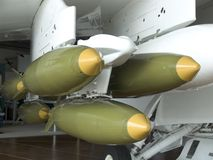 Missiles on a Plane. Missiles hanging on a plane Royalty Free Stock Photo
