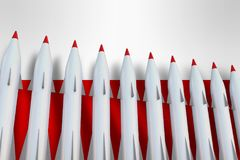 Missiles in a row and flag of Poland stock illustration