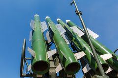 Missiles of the Russian self-propelled medium-range surface-to-air missile system  Buk-M2 against the blue sky Royalty Free Stock Images